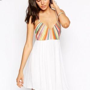 Mara Hoffman rainbow too embroidered mini dress